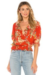 Icons Ruffle Cha Cha Blouse Red