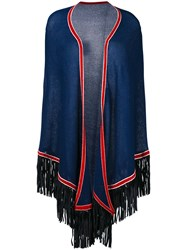 Antonia Zander Fringed Shawl Women Cashmere One Size Blue