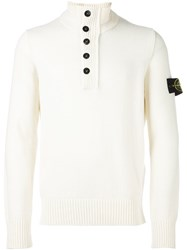 Stone Island Zipped Buttoned Neck Pullover White