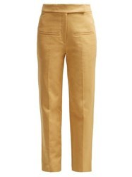 Khaite Coco Cropped Cotton Twill Trousers Beige