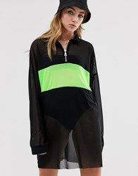 The Ragged Priest T Shirt Dress In Sheer Mesh With Neon Panel Black