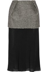 Maison Martin Margiela Maison Margiela Layered Bonded Tweed And Chiffon Midi Skirt Gray
