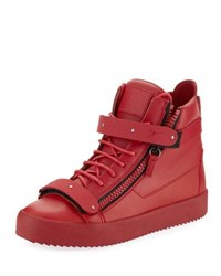 Giuseppe Zanotti Men's Smooth Leather High Top Sneaker Red