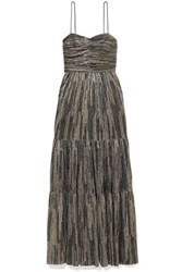 Rebecca Vallance Bellagio Tiered Lurex Maxi Dress Gold