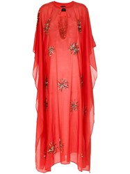 Andrea Bogosian Beaded Embroidery Kaftan Red
