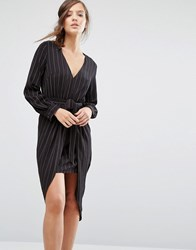Parallel Lines Tie Front Long Sleeve Dress In Pinstripe Black