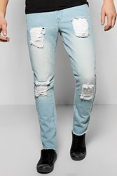 Boohoo Slim Fit Rigid Destroyed Jean Blue