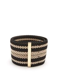 Roksanda Ilincic Striped Woven Elastic Belt Black Cream