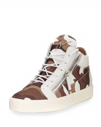 Giuseppe Zanotti Men's Camouflage Canvas Mid Top Sneaker White Brown