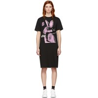 Mcq By Alexander Mcqueen Ssense Exclusive Black And Pink Glitch Bunny Slouch T Shirt Dress