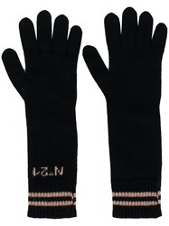 N 21 No21 Long Logo Gloves Black