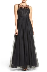 Aidan Mattox Women's Illusion Yoke Mesh Gown