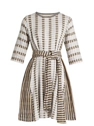 Ace And Jig Margot Round Neck Striped Jacquard Cotton Dress White Multi