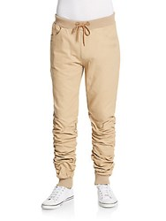 American Stitch Ruched Jogger Pants Beige