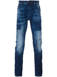 Diesel Patched Slim Fit Jeans Blue