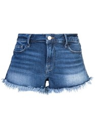 Frame Frayed Edge Micro Denim Shorts Blue