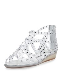 Stuart Weitzman Glogladius Caged Crystal Jelly Sandal Clear Women's