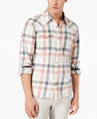 Guess Men's Western Style Check Shirt Tofu Multi