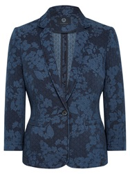 Viyella Printed Cotton Jacket Navy