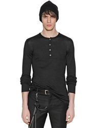 John Varvatos Long Sleeve Silk Jersey Henley Charcoal