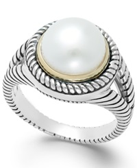 Macy's Cultured Freshwater Pearl Rope Ring In Sterling Silver And 14K Gold 10Mm