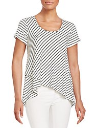 Bobeau Striped Wrap Trapeze Tee Navy White