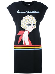 Love Moschino Graphic Print T Shirt Dress Black