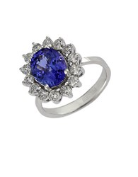 Effy Diamond Tanzanite And 14K White Gold Ring 0.96 Tcw