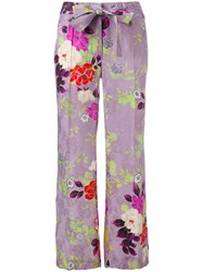Etro Floral Flared Trousers Women Silk Viscose 44 Pink Purple