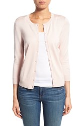 Women's Halogen Three Quarter Sleeve Cardigan Pink Peach