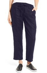 Eileen Fisher Women's Linen Cargo Pants Midnight
