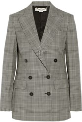 Stella Mccartney Prince Of Wales Check Stretch Wool Double Breasted Blazer Gray