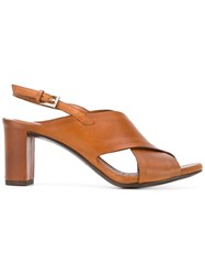 Roberto Del Carlo Crossover Slingback Sandals Brown
