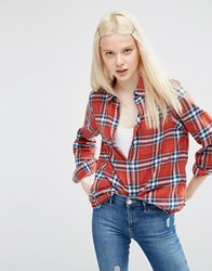 Asos Boyfriend Red Check Shirt Multi