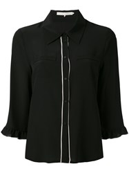 L'autre Chose Cropped Sleeves Shirt Women Silk 44 Black