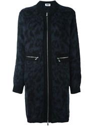 Sonia Rykiel By Animal Print Zipped Coat Blue