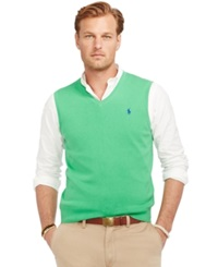 Polo Ralph Lauren Big And Tall Pima V Neck Vest Golf Green