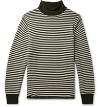 J.Crew Striped Cotton Rollneck Sweater Forest Green