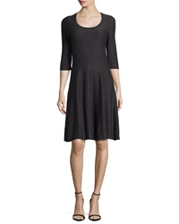 Nic Zoe Twirl 3 4 Sleeve Knit Fit And Flare Dress