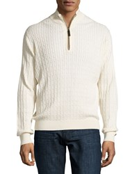 Ike Behar Quarter Zip Cable Knit Sweater Cream Ivory