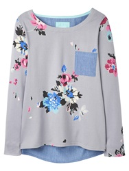 Joules Pia Printed Jersey Top Soft Grey Posy