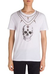 Alexander Mcqueen Skull Necklace Graphic Tee White Multicolor