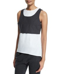 Brunello Cucinelli Jewel Neck Monili Trim Windowpane Vest Tank Charcoal