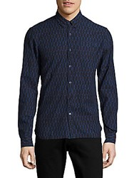 Scotch And Soda Button Down Casual Printed Shirt Dessin Blue