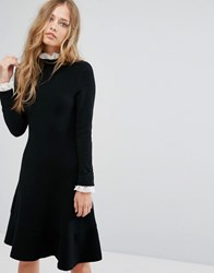 Suncoo Lace Trimmed Black Dress