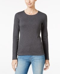 Charter Club Pima Cotton Long Sleeve Top Charcoal Heather