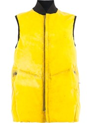 Isaac Sellam Experience Puffer Gilet Yellow And Orange