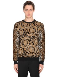 Versace Animalier Viscose Blend Knit Sweater Multicolor