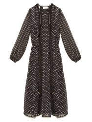 Zimmermann Havoc Polka Dot Silk Blend Dress Black Multi