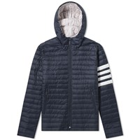 Thom Browne Four Bar Stripe Nylon Down Jacket Blue